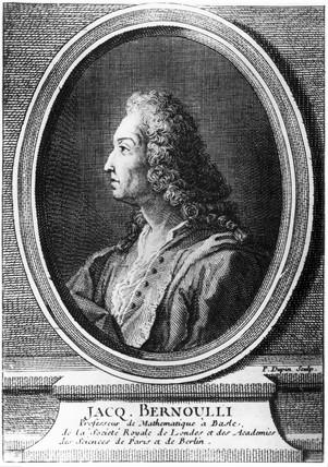 Jacques Bernoulli, Swis mathematician, c 1700.
