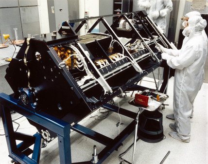 Construction of spectrometer for the Hubble Telescope, 1980s.