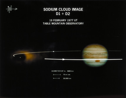Sodium cloud around Io, one of the moons of Jupiter, 1977.