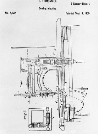Plan of Thimmonier's Sewing Machine, c 1850.