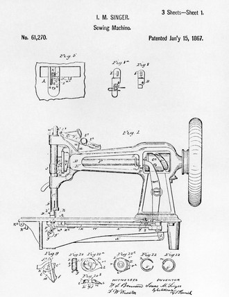 Patent drawing of an early Singer round bobbin sewing machine, 1867.
