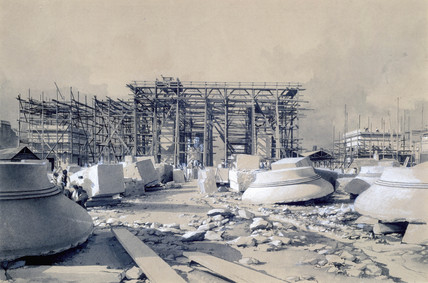 Construction of the Euston Arch, London, October 1837.