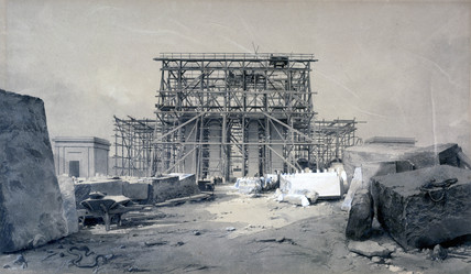 Construction of the Euston Arch, London, January 1838.