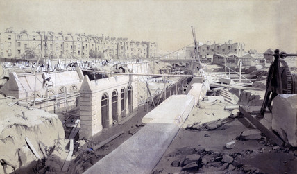 Mornington Crescent - line under construction, London, September 1836.