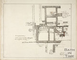 Plan of excavations and Roman discoveries during escavations for the west wing of United Hospital, Bath c.1864