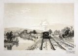 Railway and River Avon near Bath. View looking east towards Grosvenor and Bathampton c.1840