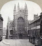Bath Abbey, west view and Abbey Churchyard c.1860