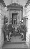 Boys outside the entrance to King Edward's Junior School, Broad Street, Bath, January 1987