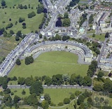 1981 Aerial view of Bath showing the Royal Crescent and Crescent Fields with St James Square behind 29 Sept