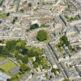 1981 Aerial view of Bath showing The Circus, Gay Street and Brock Street 29 Sept