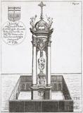 The Melfort Cross in the Cross Bath, Bath. Thermae Britanicae by Thomas Guidot 1691