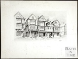 Artists impression of Bear Inn, Bear Yard, Union Street, Cheap Street, Union Passage, Bath 1925