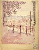 View under North Parade Bridge towards Ferry Lane, Dolemeads, Bath c.1916