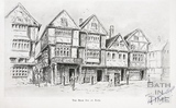 Artist's impression of Bear Inn, Bear Yard, Union Street, Cheap Street, Union Passage, Bath
