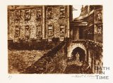Etching of the East Gate, Bath, 1886