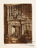 Etching of the fireplace inside Abbey Church House, Bath, 1886