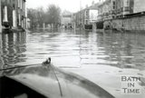 Looking from the front of a boat along Pulteney Road during the Bath Flood of December 1960