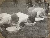 Boys apple bobbing, Charlton Park, Keynsham 1945