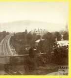 View along the Great Western Railway towards Bath from Bathwick Terrace, April 1874