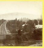 View along the Great Western Railway towards Bath from Bathwick Terrace, Bath 1874