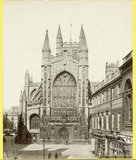 The west front of Bath Abbey from Abbey Church Yard, Bath c.1870