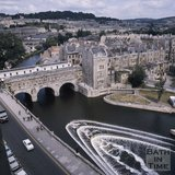 View of the weir and Pulteney Bridge, Bath from the Empire Hotel, c.1975