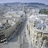 View north of High Street, Bath, from the tower of Bath Abbey, c.1980