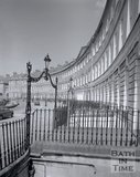 Railings and overthrows at Lansdown Crescent, Bath, c.1975
