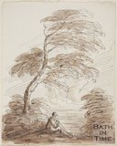 Sketch of a man seated under a tree with a stick by Benjamin Barker (1776 - 1838)