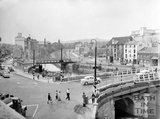 The Old Bridge, Bath, viewed from the railway viaduct, c.1963
