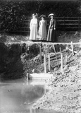 Suffragettes Emily Blathwayt, Annie Kenney and Mary Blathwayt at Pankhurst pond 1910