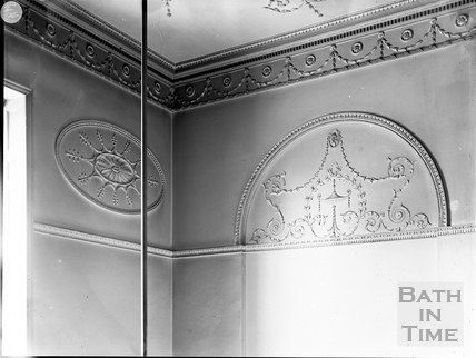 Plasterwork detail from upper staircase, Guildhall, Bath c.1903