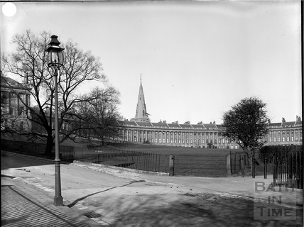Royal Crescent with spire of St. Andrew's Church, Bath c.1903