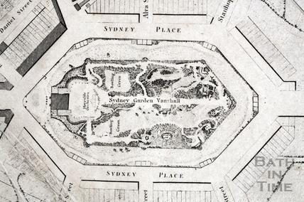 Sydney Gardens, Vauxhall, Bath 1795 - detail