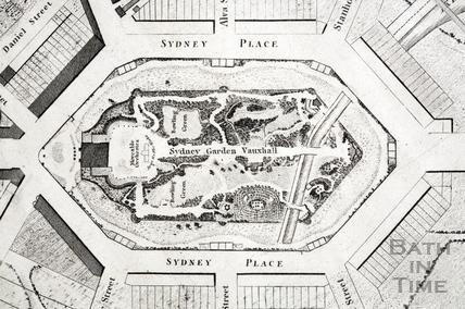 Sydney Gardens, Vauxhall, Bath 1808 - detail