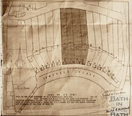 Plan of houses in Somerset Place, Bath 1950