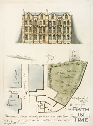 Plan and elevation of Weymouth House, St. James's Street, Bath