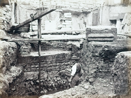 Excavation of Roman remains beneath United Hospital, Bath c.1864