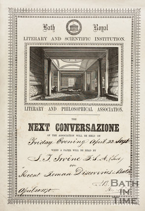 Poster advertising lecture by J.T. Irvine on his recent Roman discoveries, Bath 20th April 1870