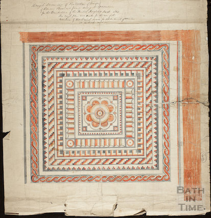 Rough drawing of Roman pavement, United Hospital, Bath 1864