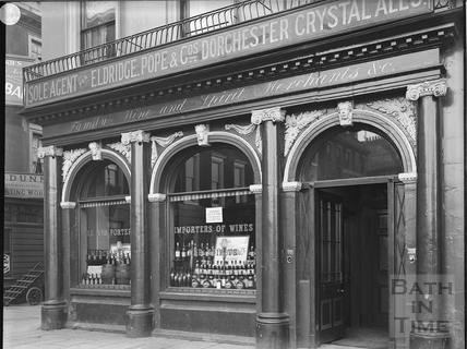 Ground floor facade, Institution Wine Cellars, 1, Terrace Walk, Bath c.1903
