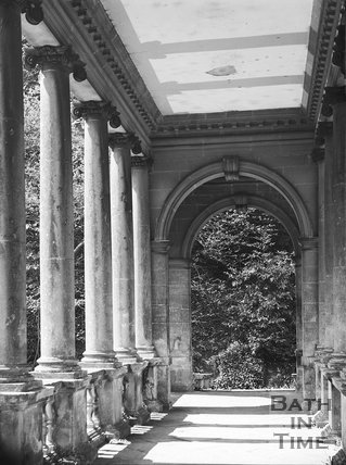 Interior of Palladian Bridge with graffiti, Prior Park, Bath c.1903