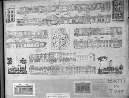 Street strip plans c.1840 and City plan, Bath 1700