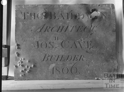 Lead Builder's Plate of 1806. Thomas Baldwin, architect, Jos Cave, builder c.1903