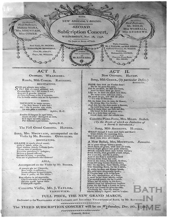 Concert Bill of 1798. Assembly Rooms, Bath