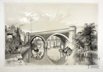 Oblique Wooden Bridge, Bath (Skew Bridge), Bath c.1840