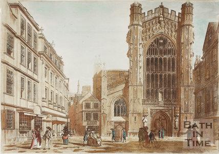 Bath Abbey, crude coloured view from Abbey Church Yard, Bath