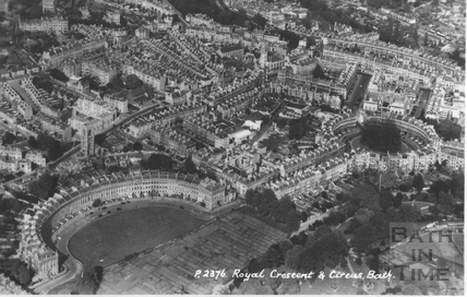 Aerial view of The Royal Crescent, Bath c.1950