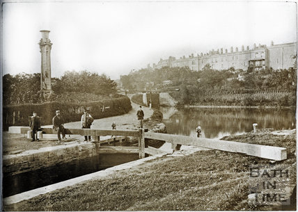 Kennet and Avon Canal, Widcombe, Bath with Sydney Buildings in background c.1890