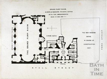 Plan of New Baths - King's and Queen's Private Baths, Bath 1868/9